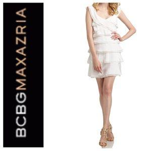 BCBGmaxazaria silk tiered ruffle cap sleeve dress